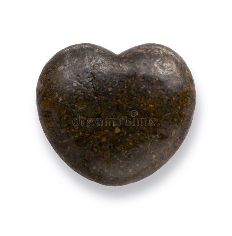 Pierre noire de coeur, caillou d'amour, roche dans la forme de coeur, photo libre de droits
