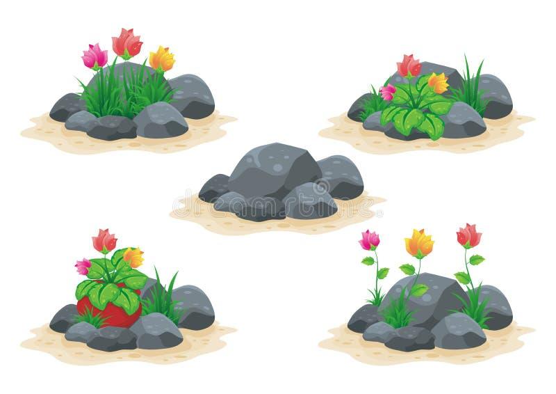 Pierre/roche avec la collection de vecteur de fleur illustration de vecteur