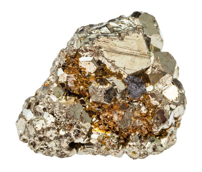 Pierre rugueuse de pyrite de fer d'isolement photographie stock