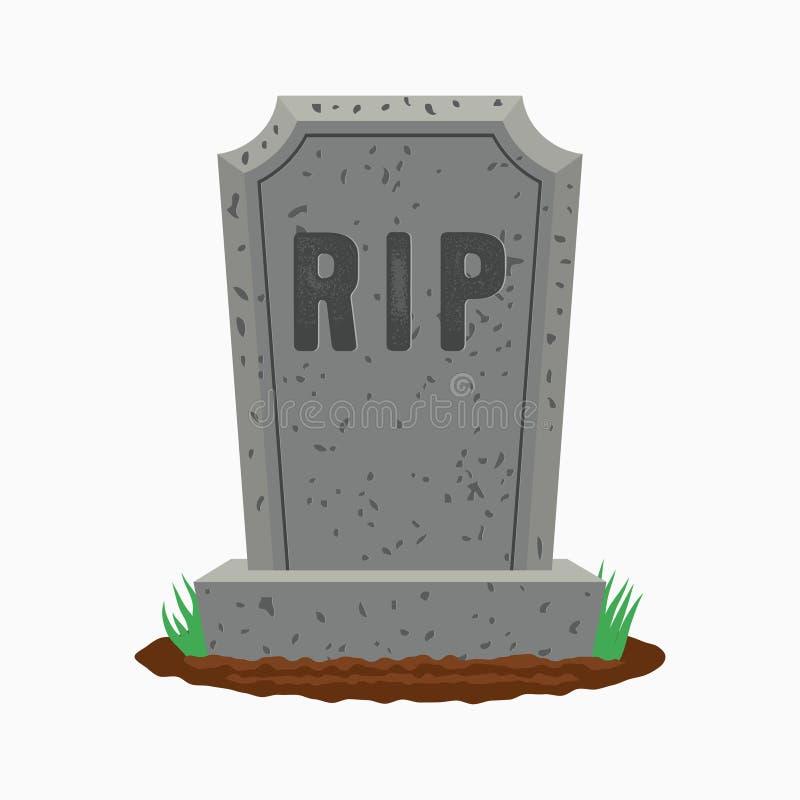 Pierre tombale avec l'herbe sur la terre Vieille pierre tombale sur la tombe avec la DÉCHIRURE des textes Vecteur illustration de vecteur