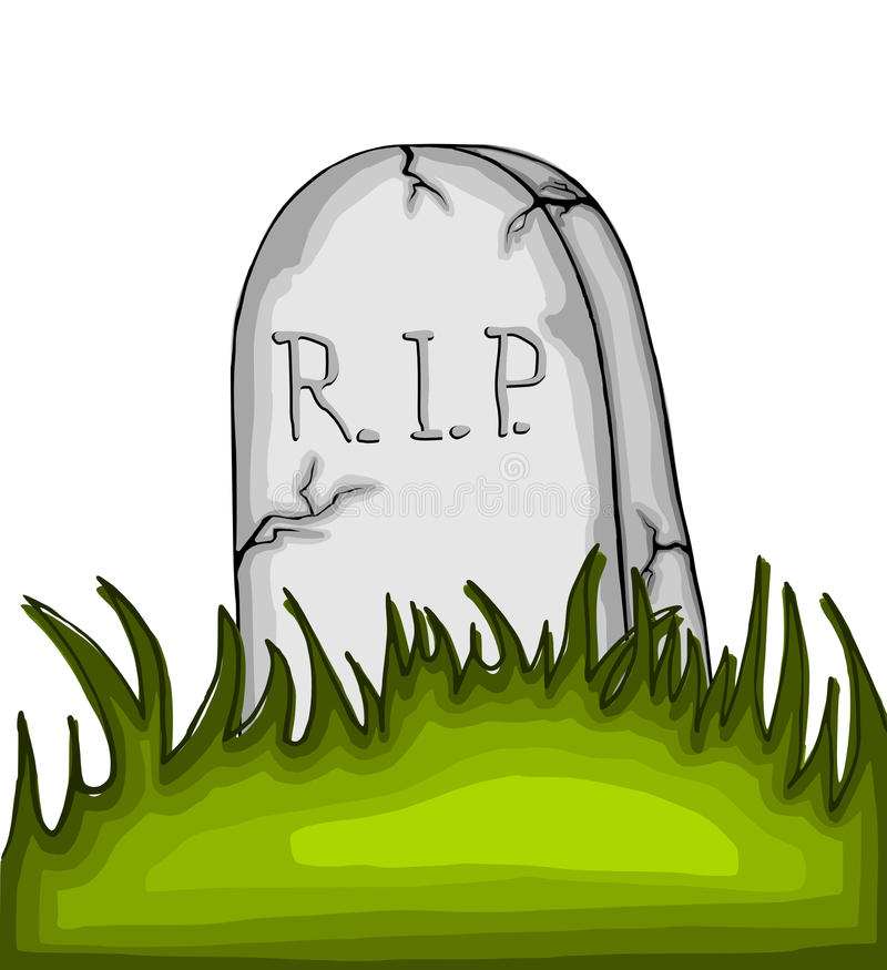 Pierre tombale de bande dessinée sur l'herbe illustration libre de droits