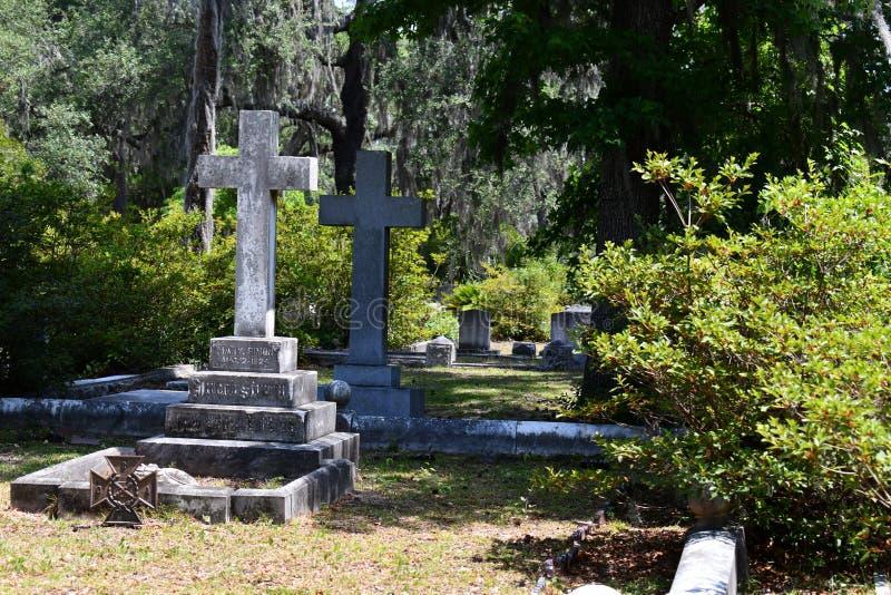 Pierre tombale de cimetière au cimetière historique de Savannah Georgia images stock