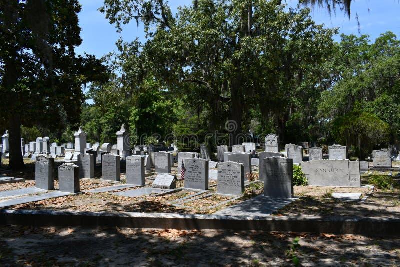 Pierre tombale de cimetière au cimetière historique de Savannah Georgia photographie stock libre de droits