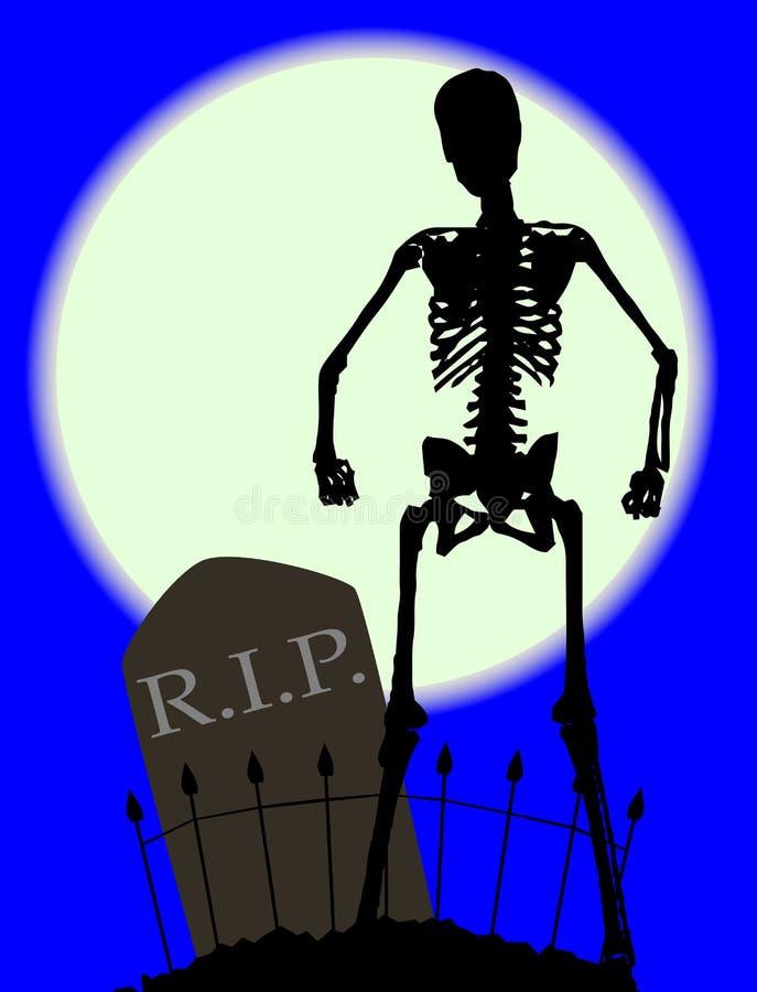 Pierre tombale de DÉCHIRURE d'os de cimetière illustration de vecteur