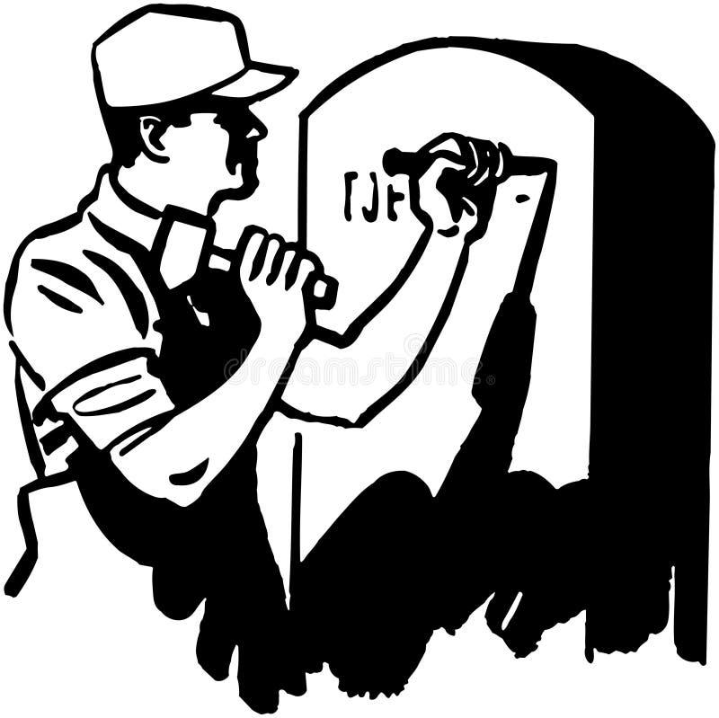 Pierre tombale de gravure d'homme illustration libre de droits