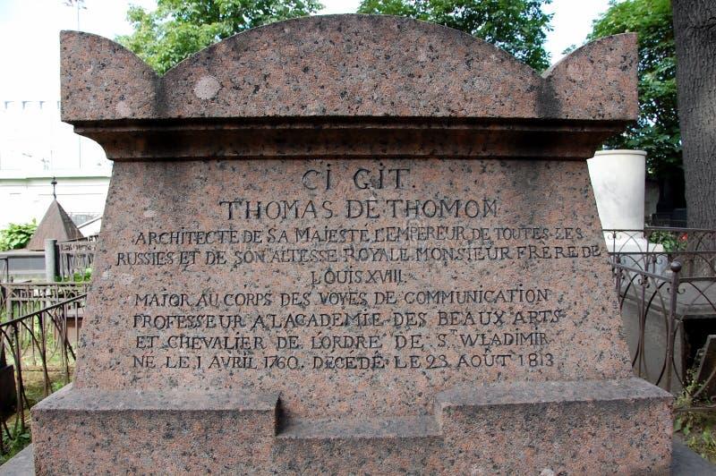 Pierre tombale de Thomas de Thomon photographie stock