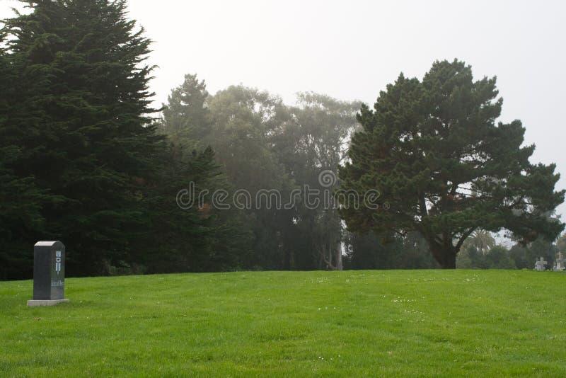 Pierre tombale solitaire dans un cimetière images libres de droits