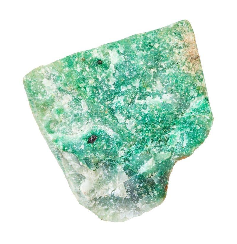 pierre verte rugueuse d'Aventurine d'isolement photographie stock libre de droits