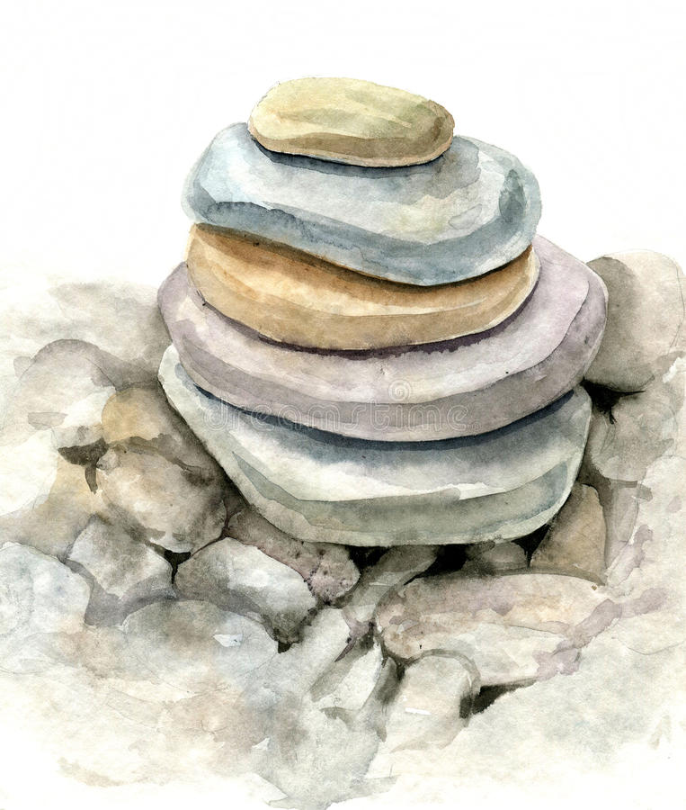 Pierres de mer d'aquarelle illustration libre de droits