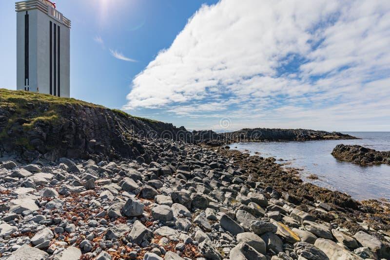 Pierres de phare et de basalte dans différentes couleurs sur kalfshamar photos stock
