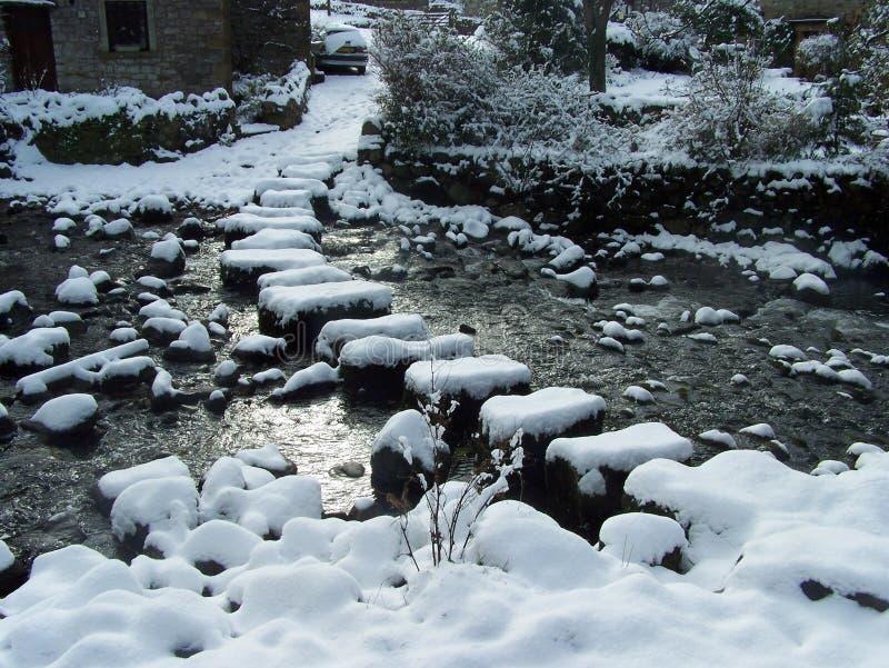 Pierres de progression couvertes dans la neige photo stock