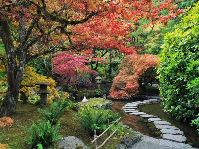 Pierres de progression dans le jardin japonais photos stock