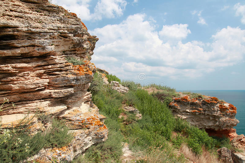 Pierres de promontoire de Kaliakra, côte de la Mer Noire image libre de droits