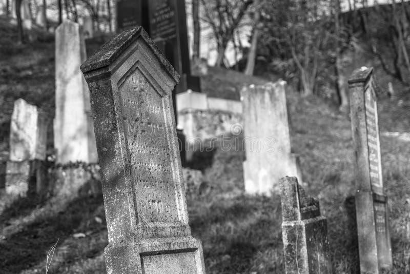 Pierres de tombe au cimetière juif au-dessous du château médiéval Beckov photo stock