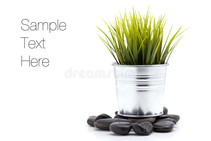 Pierres de zen avec l'herbe images stock