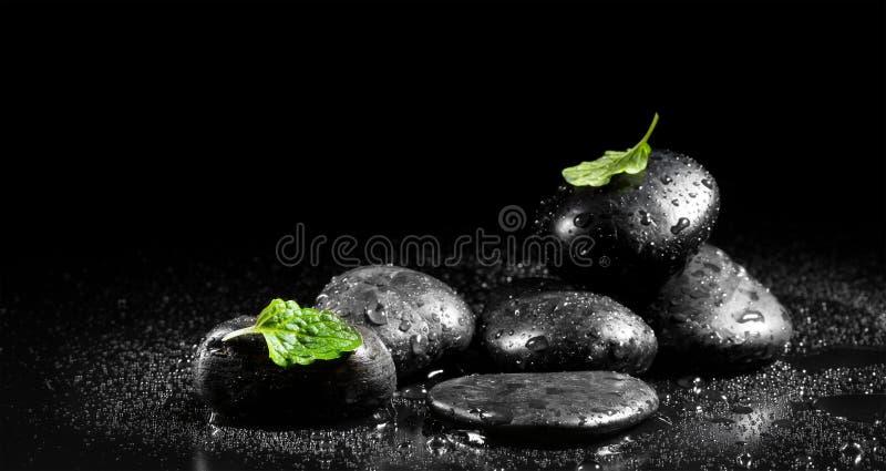 Pierres de zen avec les feuilles en bon état image libre de droits
