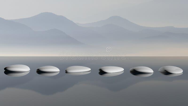 Pierres de zen dans l'eau illustration libre de droits