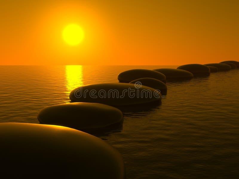Pierres de zen dans l'eau, coucher du soleil illustration libre de droits