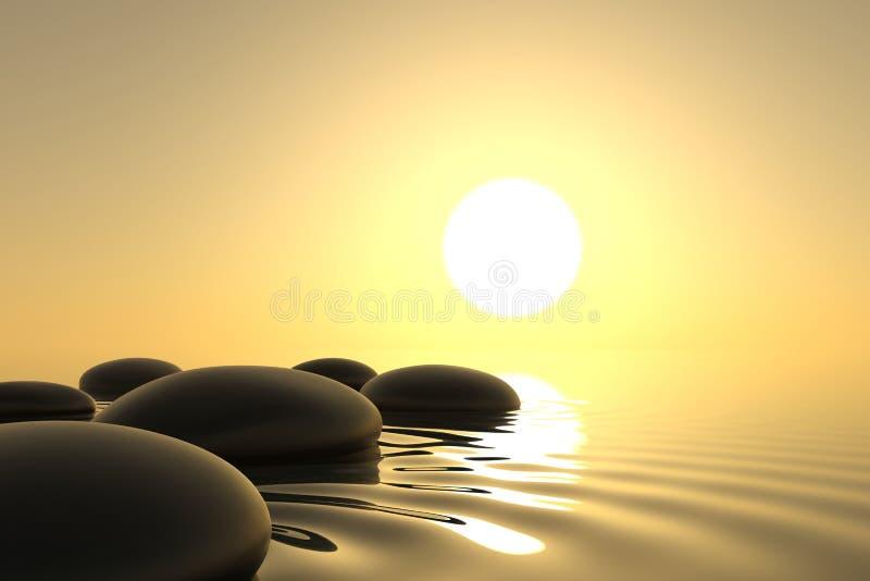 Pierres de zen dans l'eau sur le fond blanc illustration de vecteur