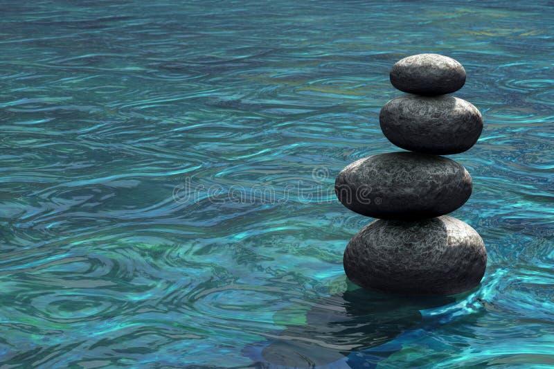 Pierres de zen empilées sur l'eau illustration de vecteur