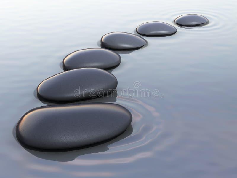 Pierres de zen sur l'eau illustration de vecteur