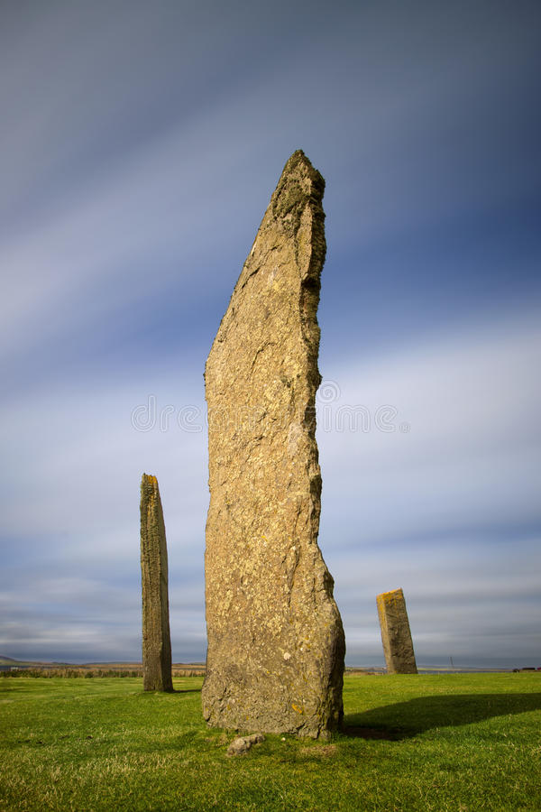 Pierres debout de Stenness, les Orcades, Ecosse photos stock