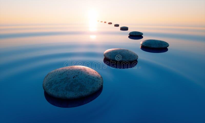 Pierres en mer calme au coucher du soleil illustration stock