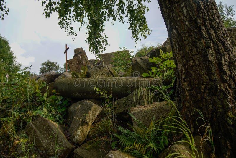 Pierres et arbre sur la vieille pile de blocaille à partir de 1945 image stock