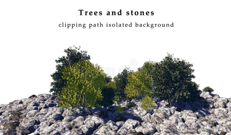 Pierres et arbres d'isolement images stock