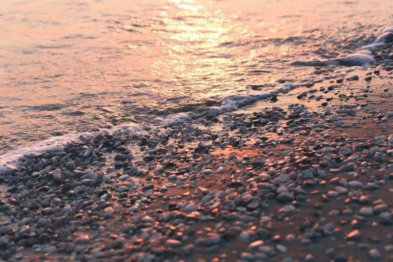 Pierres et eau humides de caillou au bord de la mer de matin image libre de droits