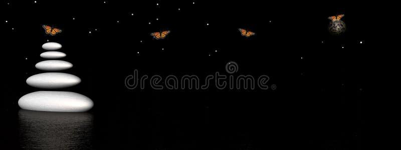 Pierres et guindineaux de zen par nuit illustration stock