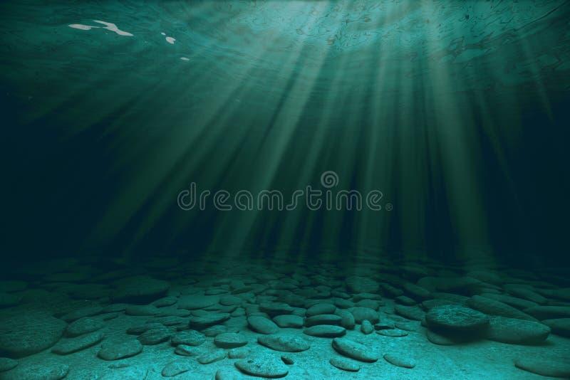 Pierres et rayons de soleil sous l'eau illustration libre de droits