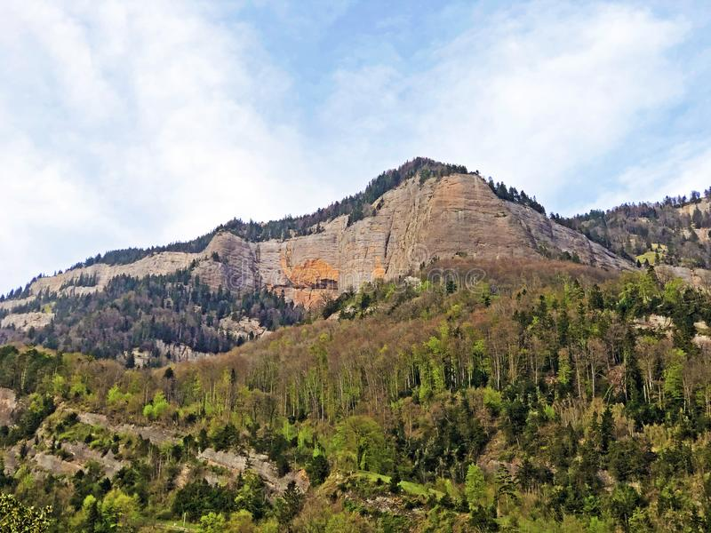 Pierres et roches de la montagne maximale Rigi de Vitznauerstock ou de Gersauerstock photo stock