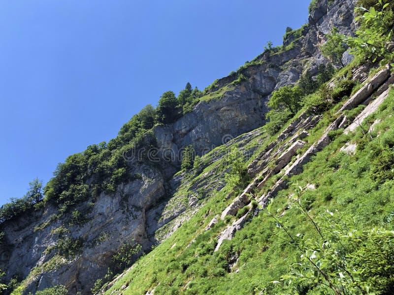 Pierres et roches du massif Alpstein de montagne et dans la r?gion d'Appenzellerland photographie stock libre de droits