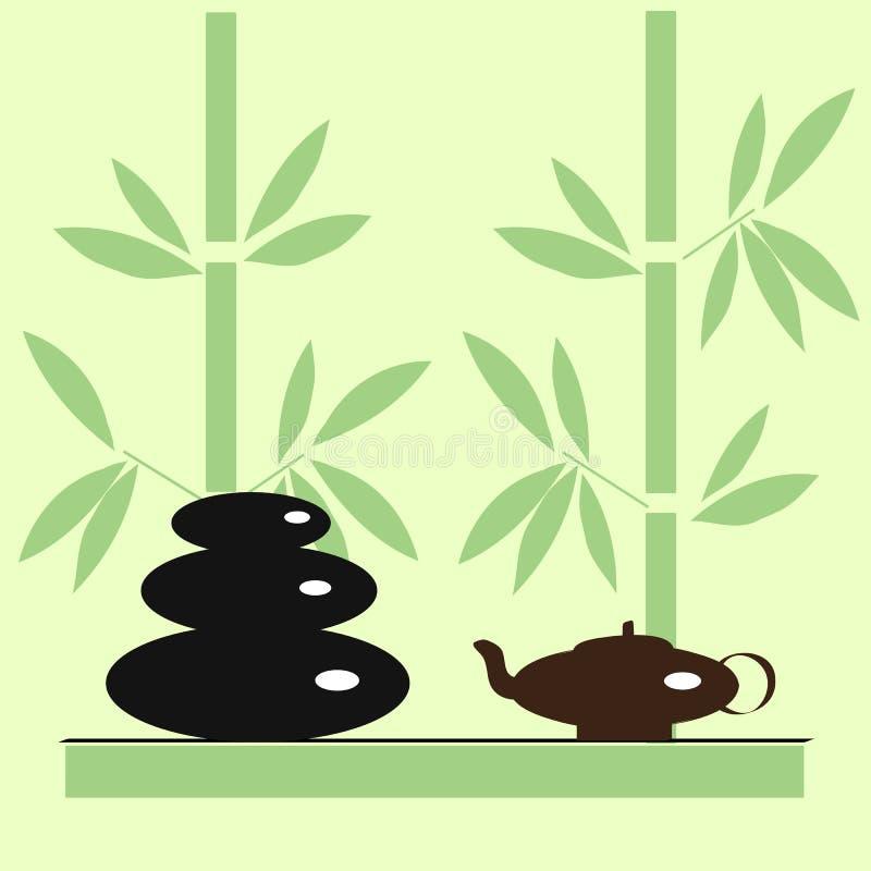 Pierres et thé dans le salon de station thermale illustration de vecteur