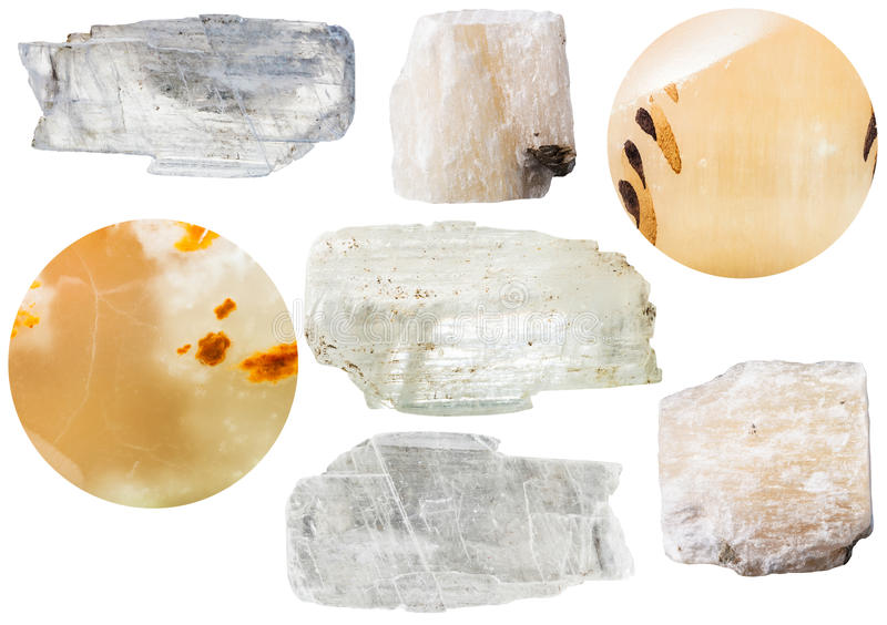 Pierres minérales de gypse - cristaux et sélénite photographie stock libre de droits