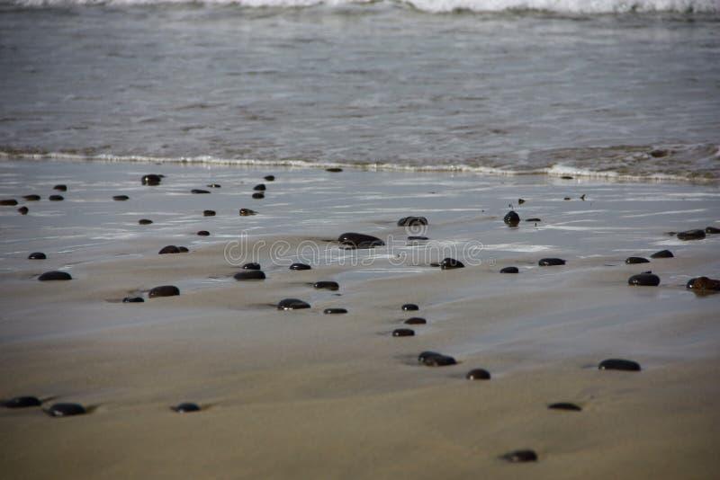 Pierres noires sur la plage photographie stock libre de droits