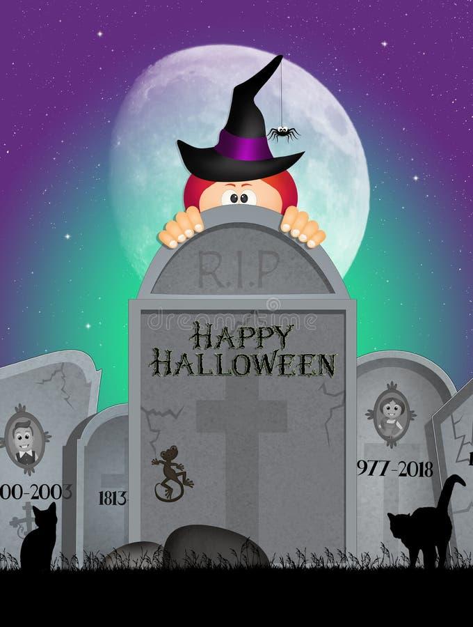 Pierres tombales la nuit de Halloween illustration de vecteur