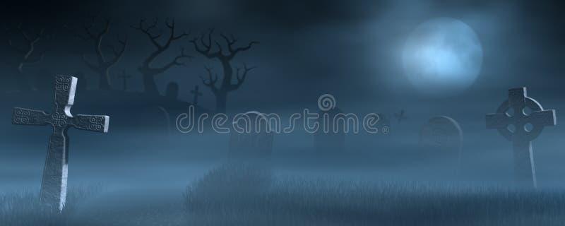 Pierres tombales sur un cimetière brumeux fantasmagorique la nuit illustration libre de droits