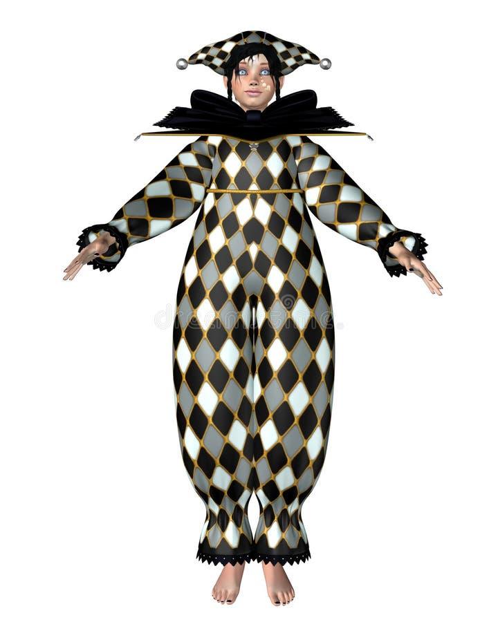 Pierrot Clown Doll - Harlequin checks stock illustration