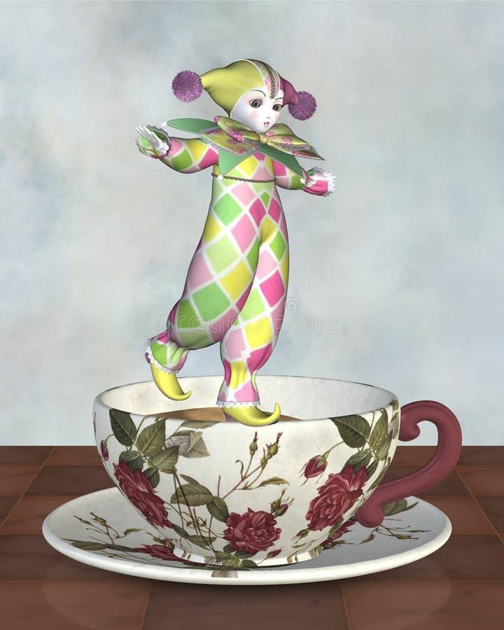 Pierrot Clown-Puppe, die auf einem Tee-Cup balanciert stock abbildung