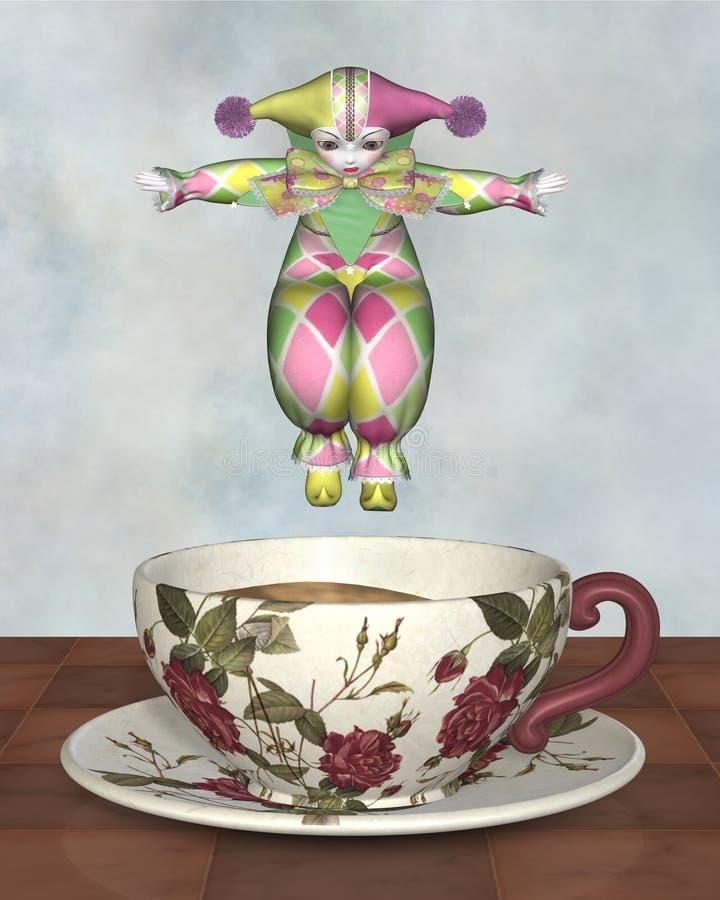 Pierrot Clown-Puppe, die in ein Tee-Cup springt lizenzfreie abbildung