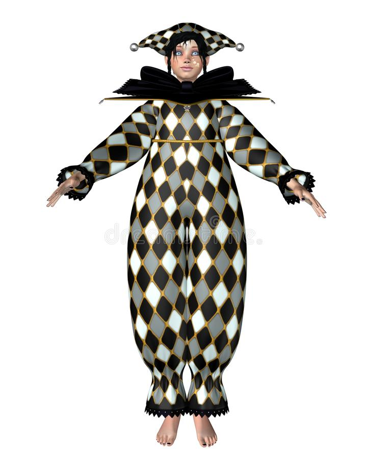 Pierrot Clown-Puppe - Harlekinchecks stock abbildung