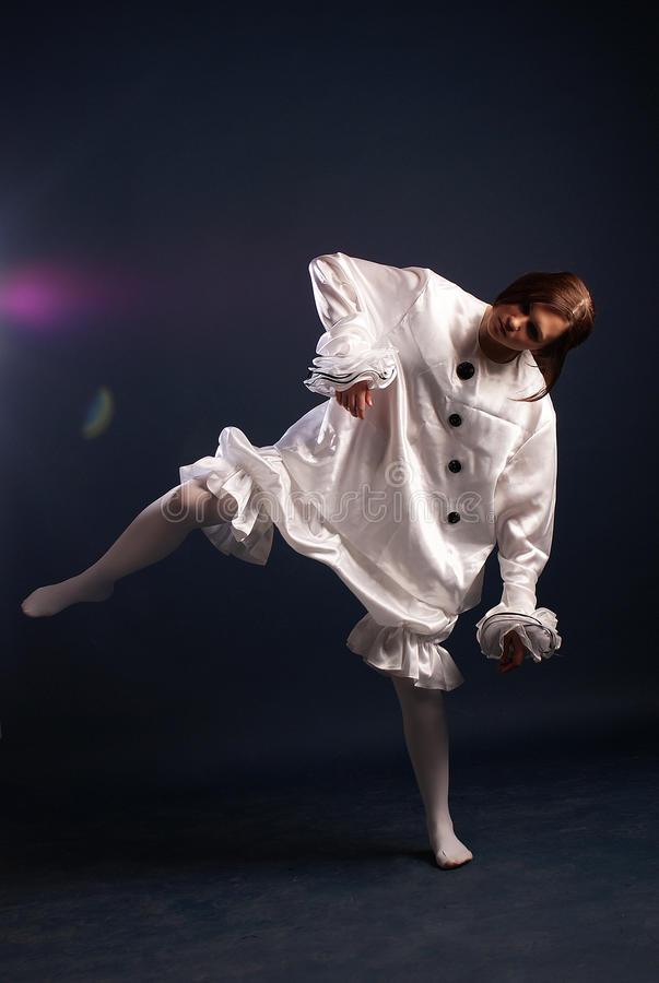 Pierrot costume.Isolated stock photography