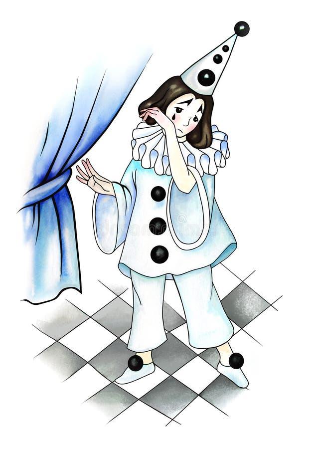 Pierrot im Theater lizenzfreie abbildung