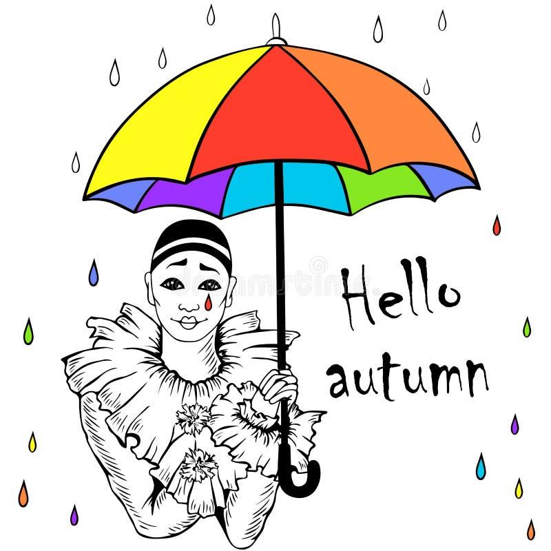 Pierrot mit Regenbogenregenschirm lizenzfreie abbildung