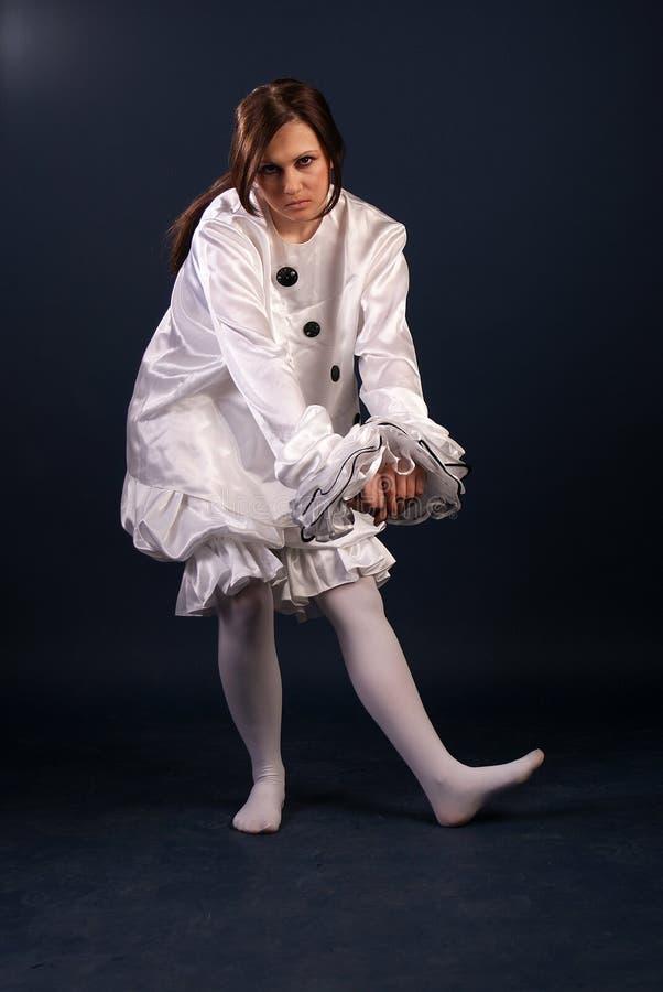 Pierrotdräkt isolerat fotografering för bildbyråer