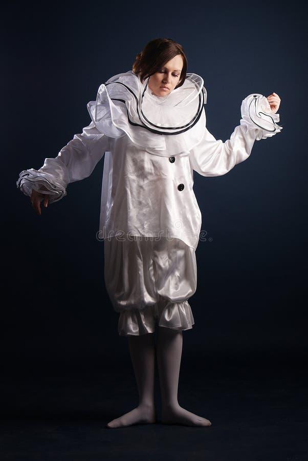Pierrotdräkt isolerat royaltyfri bild