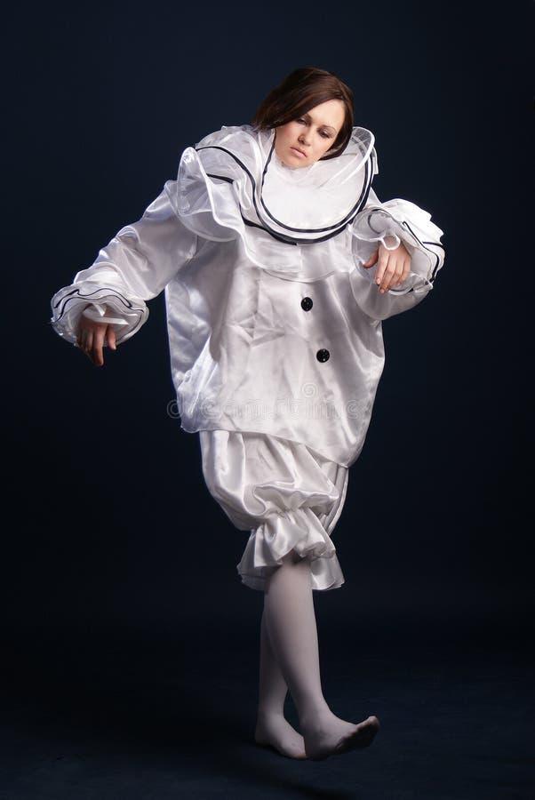 Pierrotdräkt isolerat royaltyfria bilder