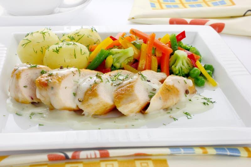 piersi kurczaka warzywa fotografia stock